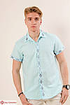 Молодежная мужская сорочка льняная расшита геометрическим орнаментом, фото 2