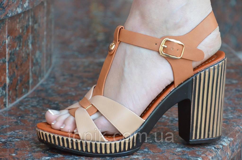 Босоножки на каблуке женские светло и темно коричневые легкие искусственная кожа. (Код: 649а)