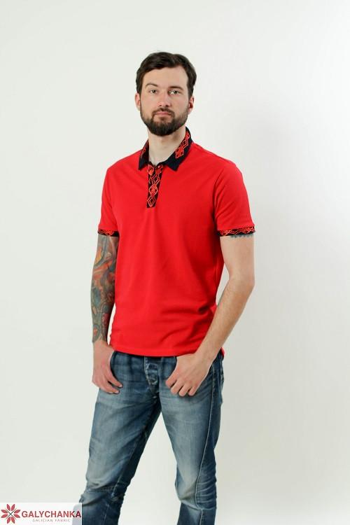 Стильная мужская футболка-поло в красном цвете с вышивкой