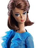 Коллекционная кукла Barbie силкстоун в голубом костюме, фото 2