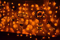 "Новогодняя гирлянда занавес (штора, бахрома) ""Мандариновое солнце"", фото 1"