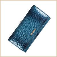 Женский кошелек из натуральной кожи под рептилию Cossroll Blue