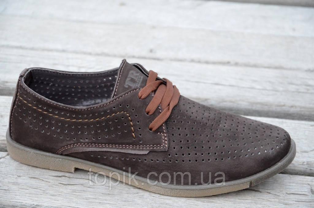 Туфли мужские летние натуральная перфорированная кожа нубук коричневые. (Код: 657а) Только 40р!