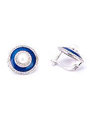 Сережки срібні з ювелірної емаллю і перлами