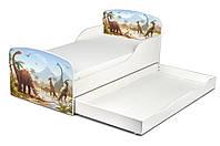 Кроватка Динозавры с ящиком и матрасом 140*70