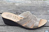 Шлепанци, босоножки на танкетке коричневые летние Турция мягкие