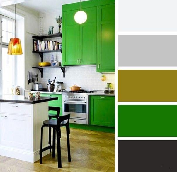 зеленые кухни в интерьере