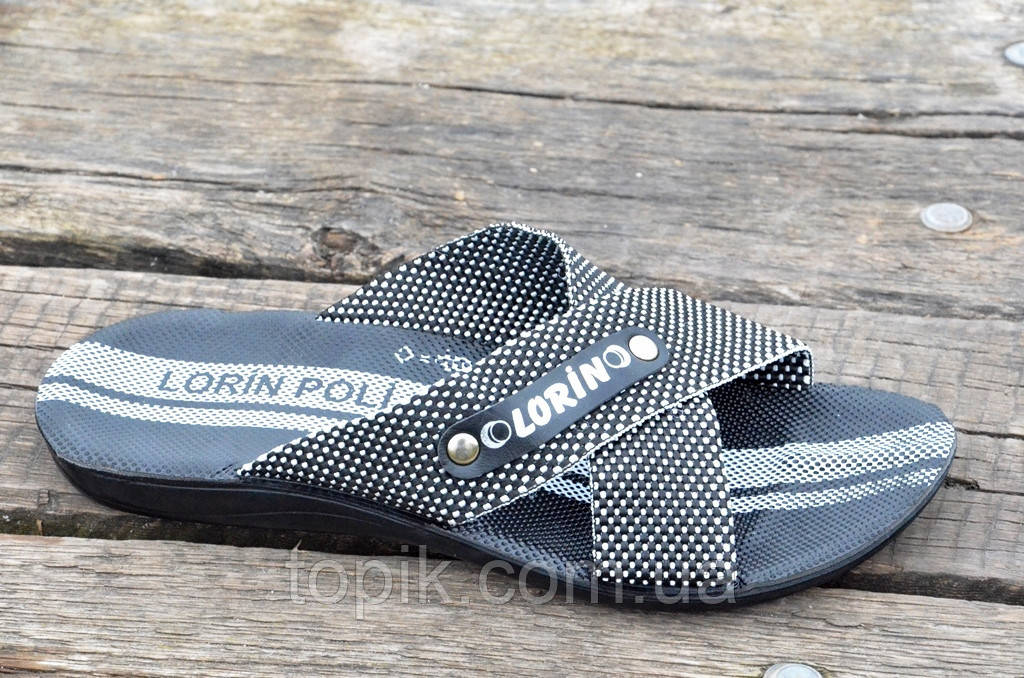 Шлепанци, босоножки мужские прочная синтетическая ткань черные с белым (Код: 664а). Только 40р!