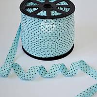 Косая бейка из хлопка  для окантовки с звёздами на светло-бирюзовом фоне