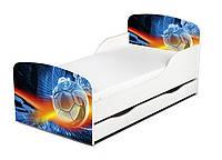 Кроватка Футбол с ящиком и матрасом 140*70