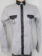 Стильная серая рубашка в мелкую полоску. Италия