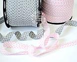 Косая бейка из хлопка  для окантовки со звёздами на сером фоне, фото 2
