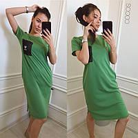 Платье с караманом - сетка / коттон / Украина