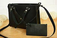 """Женская сумочка """"Крестик XL"""" (Черная) + клатч в подарок!"""