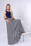 Длинное платье мод 513-4, белое с синим, разм 40,42,44,46,48