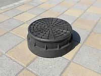 Люк канализационный полимерпесчаный садовый малый черный (до 1т), фото 1