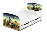 Кроватка Космомашина с ящиком и матрасом 140*70