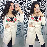 Бесподобное женское пальто (турецкий кашемир, большой воротник с вышивкой, на поясе, длина миди) РАЗНЫЕ ЦВЕТА!