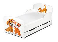 Кроватка Собака и котенок с ящиком и матрасом 140*70
