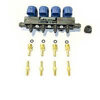 Форсунки Tomasetto IT01 v. PLUS 4 цил. 2 Ohm с жиклерами D1,50 мм и штуцерами в коллектор, пластик.