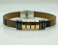 144 Дорогой подарок- Шикарный мужской браслет из натуральной кожи и стали.