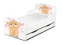Кроватка Мишки с ящиком и матрасом 140*70