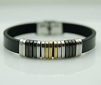 146 Подарок мужчине- Кожаный мужской браслет из натуральной кожи и стали.