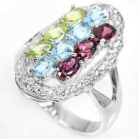 Серебряное кольцо с натуральным родолитом,топазом и хризолитом
