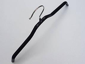 Плечики  вешалки  тремпеля детские металлические в силиконовом покрытии черного цвета, длина 30 см, фото 3