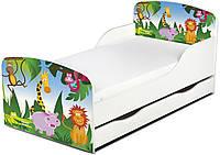 Кроватка Король джунглей с ящиком и матрасом 140*70