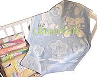 Теплое байковое одеяло 100% хлопок, голубое