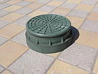 Люк канализационный полимерпесчаный садовый малый зеленый (до 1т), фото 1