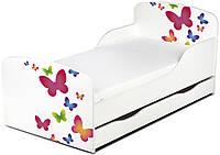 Кроватка Бабочки с ящиком и матрасом 140*70