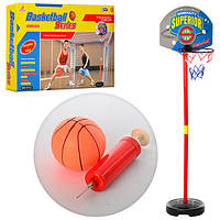 Баскетбольное кольцо M 2906  пл, на стойке 108см,мяч фомовый11см, щит39,5-31см,55-33,5-9см