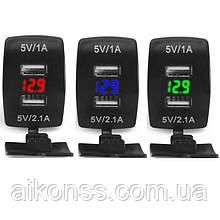 Влагостойкая USB автомобильная зарядка вольтметр врезная 2,1A / 12V-24V