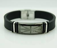 150 Стоящий подарок мужчине- Мужской браслет из каучука и стали.