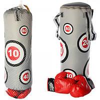 Боксерский набор M 2916  груша 60-22см,наполнит.текстиль,2 ручки, перчатки,в сетке, 22-70-22см