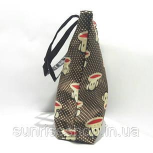 Сумка текстиль подросток для прогулок и пляжа коричневая, фото 2