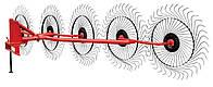 Грабли-ворошилки Wirax на круглой красной трубе (Польша, 5 секции, черная спица 5 мм)