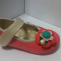 Туфли детские на девочку злаковые коралловые+бежевый