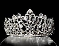 Диадема корона на обруче, серебристая, с гребешками, высота 5,5 см