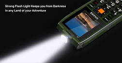 UHANS V5 Green Army 2 SIM, яркий фонарик, громкий динамик, функция Power Bank 2500 мАч, фото 3
