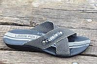 Шлепанци, босоножки мужские прочная синтетическая ткань черные с белым. Со скидкой