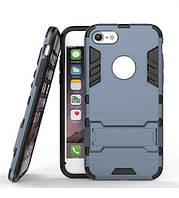 Ударопрочный чехол-подставка Transformer iPhone 7 с защитой корпуса  Металл / Gun Metal