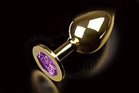 Большая золотистая анальная пробка с кристаллом Пикантные штучки