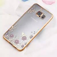 Чехол с цветами и стразами для Samsung G925F Galaxy S6 Edge с глянцевым бампером  Золотой/Роз.