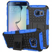 Противоударный двухслойный чехол Shield для Samsung G925F Galaxy S6 Edge с подставкой Синий