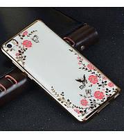 Прозрачный чехол с цветами и стразами Xiaomi Mi 4i / Mi 4c с глянцевым бампером  Золотой/Роз.