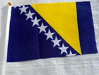 Флажок Боснии и Герцеговины 13x20см на пластиковом флагштоке
