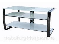 Столик TV, современная тв тумба стеклянная на 3 полочки без системы крепежа